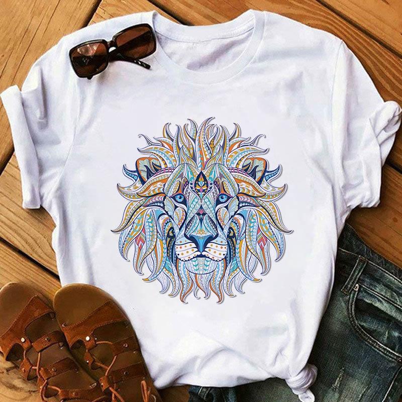 Фото - Summer T-shirt Women Ulzzang Streetwear Cartoon Lion Print T-shirt Korean Shirt Harajuku Short-sleeved T-shirt 2021 latest hot sale 3d cartoon print short sleeved t shirt harajuku t shirt 110 xxs 6xl