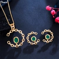 donia jewelry european and american luxury fashion chain aaa zircon emerald necklace earrings set accessories
