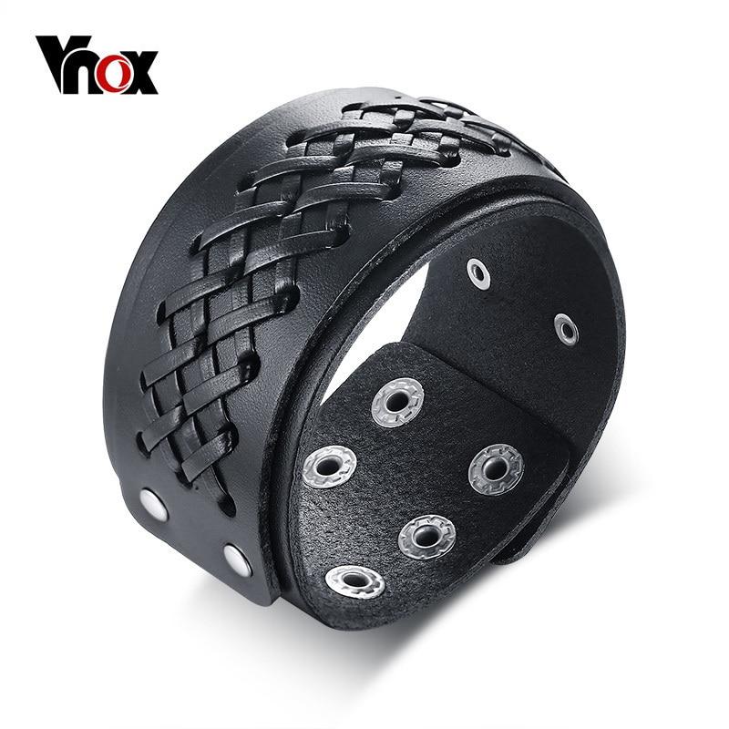 Vnox мужской плетеный кожаный браслет наручные Браслеты Готический Винтажный стиль байкер рок панк мужской Pulseira Masculina ювелирные изделия