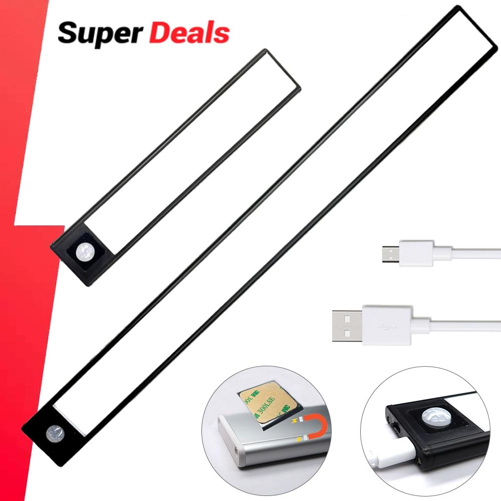 Ultra-thin LED Light Cabinet Lighting PIR Motion Sensor led USB Rechargeable Black Aluminum Kitchen Cabinets Lights Lighting LED