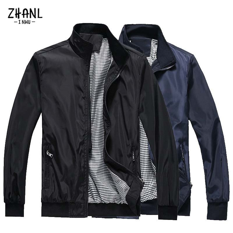 Мужские куртки, мужские однотонные дизайнерские деловые повседневные куртки на молнии, пальто, стандартная тонкая куртка, пальто для мужчи...