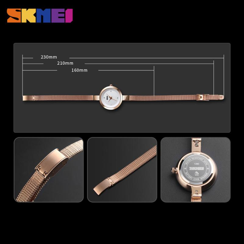 SKMEI Luxury Thin Strap Quartz Ladies Watch Fashion Women Watch Casual Stainless Steel Female Wristwatcch Relogio Feminino 1390 enlarge