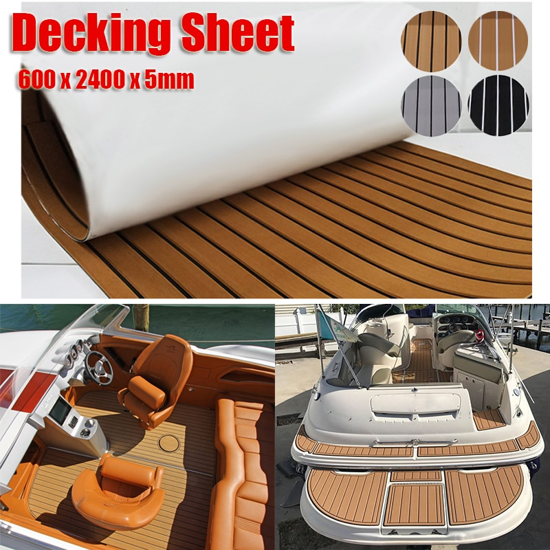 600x2400x5mm EVA Foam Faux Teak Boat Deck Mat Brown Decking Sheet Yacht Flooring Anti Skid Mat Self Adhesive Vehicle Pad