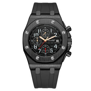 Men Luxury Watch All Subdial Work Stainless Steel Mens Watches Chrono Stopwatch Quartz Black Dial Rubber Strap Relogio Masculino