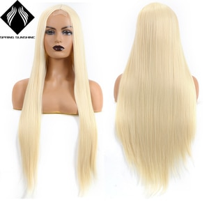 ynthetic Lace Wig Long Straight Blonde Color Hair for Women Daily Makeup Cosplay Party High Heat Resistant Fiber Wig