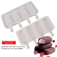 ice cream mold silicone 4 cavities ice stick oval mold with 50 wooden sticks for diy freeze fruit dessert chocolate