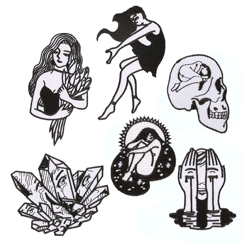 Skull Nude Girl Patch Iron on Patches for Clothing Stripe Badge Sew Stickers Clothes Embroidered Appliques DIY