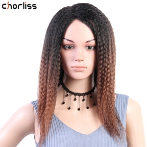 """Yaki Straight Wig Synthetic Wigs Ombre 14""""Inch Long Hair Natural Hairline Side Part Wigs for Black Women Heat Resistant Fiber"""