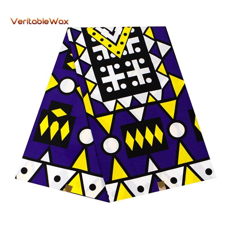 Tela africana de Ankara África cera Real impresiones algodón tela diamante patrón BintaRealWax alta calidad para vestido de fiesta 24FS1363
