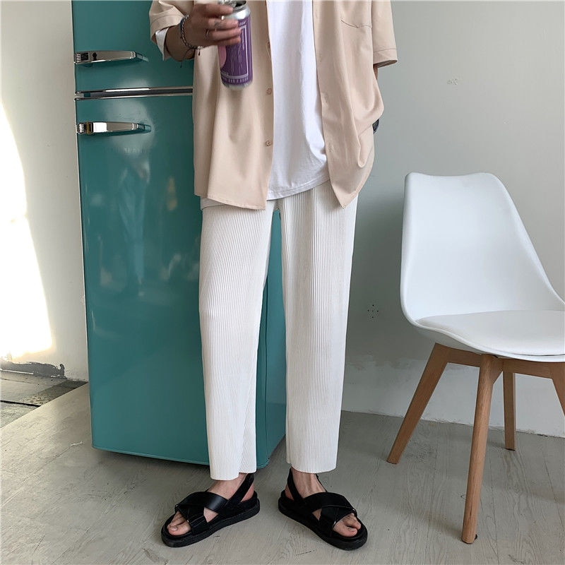 482 # elástica pantalones casuales hombres Streetwear salvaje suelta Pantalones vestidos acampanados...