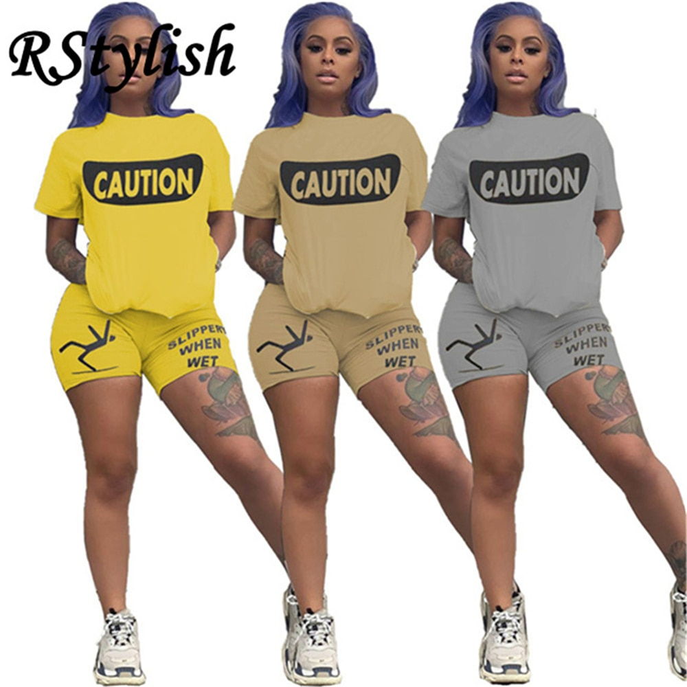 RStylish 2021 Summer New Women Letter Print Short Sleeve Loose Top Sporty Shorts Matching Set Workout Sporty Two Piece Tracksuit