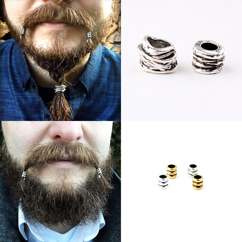 Viking Beard Metal Loose Beads Spacer Beads Fit Beards or Hair Decorations Punk Style Skull Big Hole