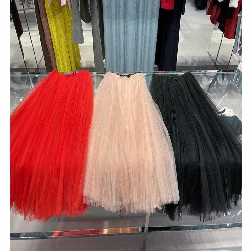 Skirt Women Pleated With Bow 3 Layers Tutu Tulle Skirt Silk Lining Vintage Midi Skirts Women Lolita