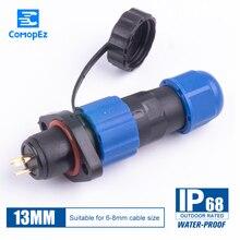 Водонепроницаемый 4-контактный разъем SP13 тип IP68 Кабельный соединитель штепсельная вилка и гнездо штыревой и гнездовой 1234567 pin SD13 13 мм прямой ...