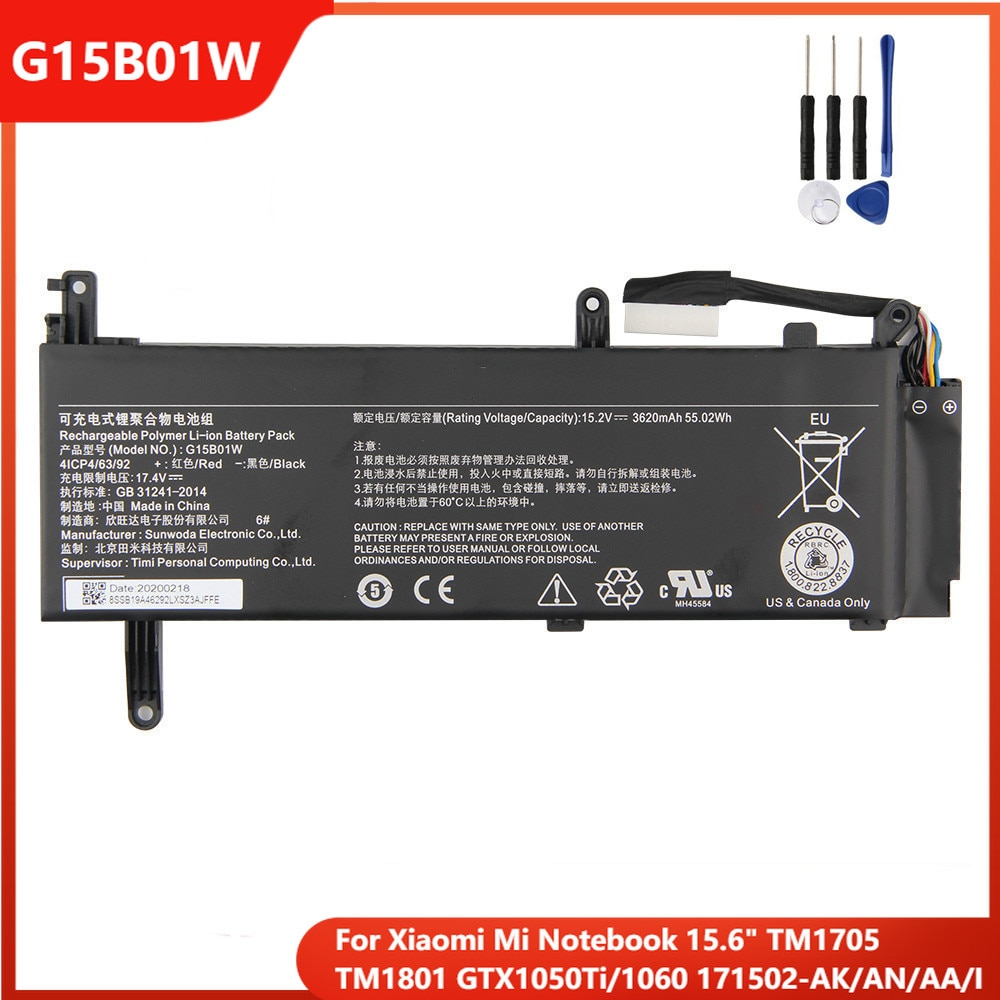 Xiao Mi Original Laptop Battery G15B01W For Xiaomi Mi Notebook 15.6