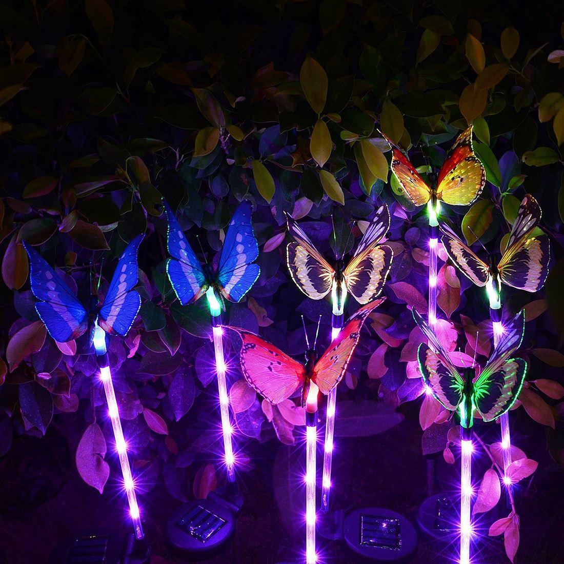 3 pces 60cm multi-cor mudando luzes de borboleta led de fibra óptica borboleta luzes decorativas luzes solares