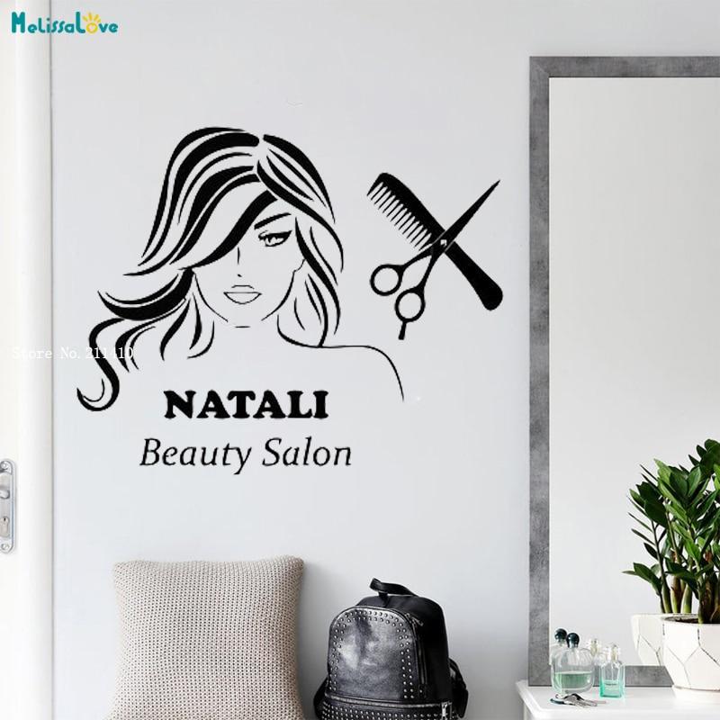 Etiqueta engomada de la pared del salón de belleza del nombre personalizado calcomanías de la decoración del arte de las uñas esmalte de manicura de la mujer de vinilo autoadhesivo YT1711