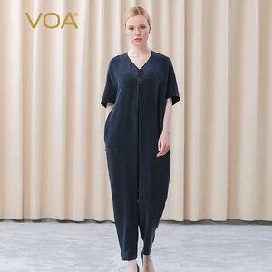VOA Distressed Silk 30m/m V-Neck Navy Blue Collar and Rotator Cuff Three-dimensional Fold Comfortable Loose Jumpsuit women KE259