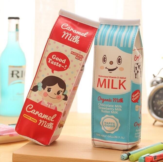 1 unids/lote Kawaii Morning Milk bolsa grande para lápices Panda Girl bolsa para lápices Estojo Escolar para Material Escolar