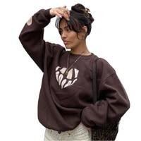 sweatshirts y2k fashion streetwear 2021 brown love print indie aesthetic 90s long sleeve loose hoodies graphic crewneck clothes