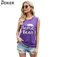 mama bear fashion sleeveless letter print women tshirt round neck loose beach style casual vest women tshirt
