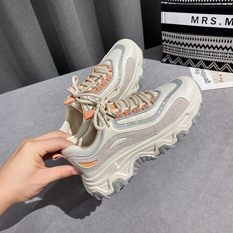 2021 New Chunky Sneakers Women Mesh Mixed Colors Cross-Tied Fashion Platform Lady Casual Shoes Handmade Zapatos Mujer fashion chunky sneakers runway mixed colors v design sole shoes round toe leisure shoes mesh patchwork dad shoes