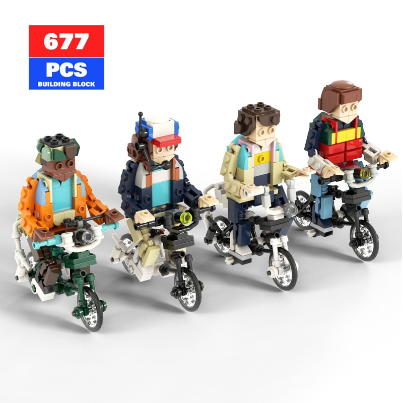MOC Stranger Things Figure Bicycle TV Movie Building Block Set Friends Motorcycle Action Figure Brick Model Toys for Children