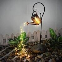 outdoor solar watering can light art fairy garden led light shower watering can fairy lights garden decor garden ornament lamp