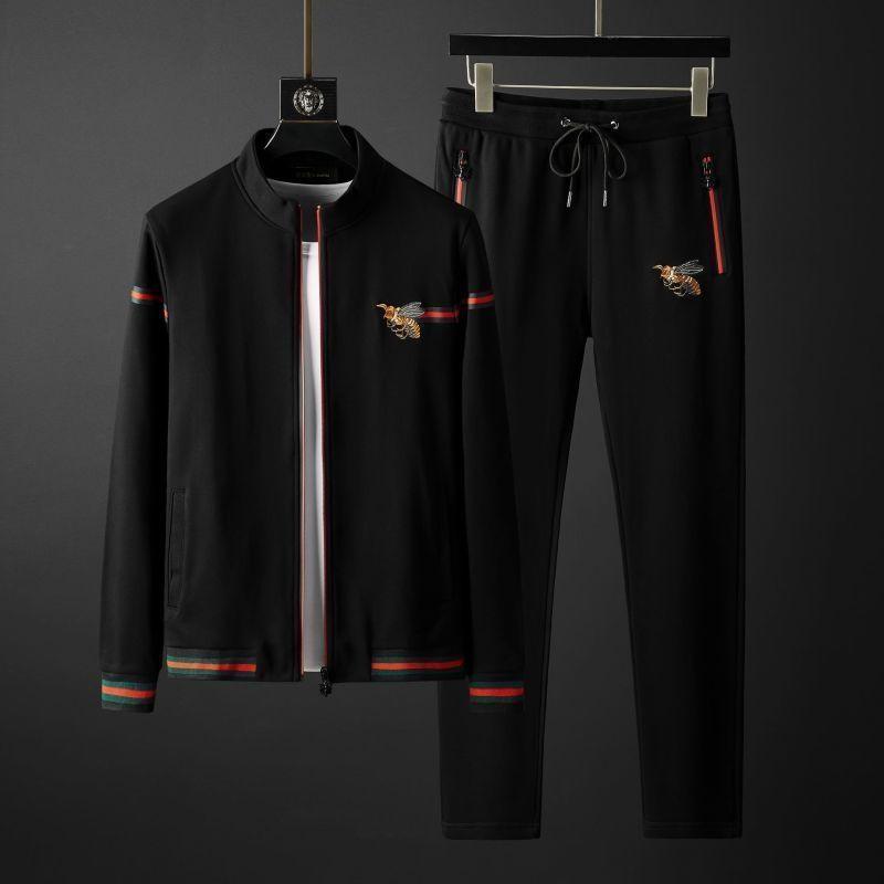 Осенний мужской свитер с вышивкой пчелы в гонконгском стиле с длинным рукавом мужской повседневный спортивный костюм брюки мужской костюм ...