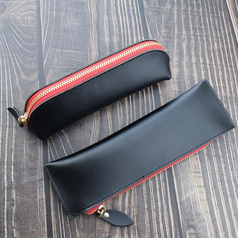Handmade Black Genuine Leather Pencil Case Cowhide Pencilcase School Writing Materials Storage Bag Office School Supplies Gift