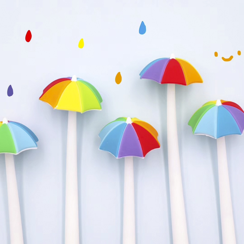 Rainbow paraguas estilo bolígrafo de gel de silicona pluma de firma Escolar Papelaria escuela Oficina suministro regalo promocional