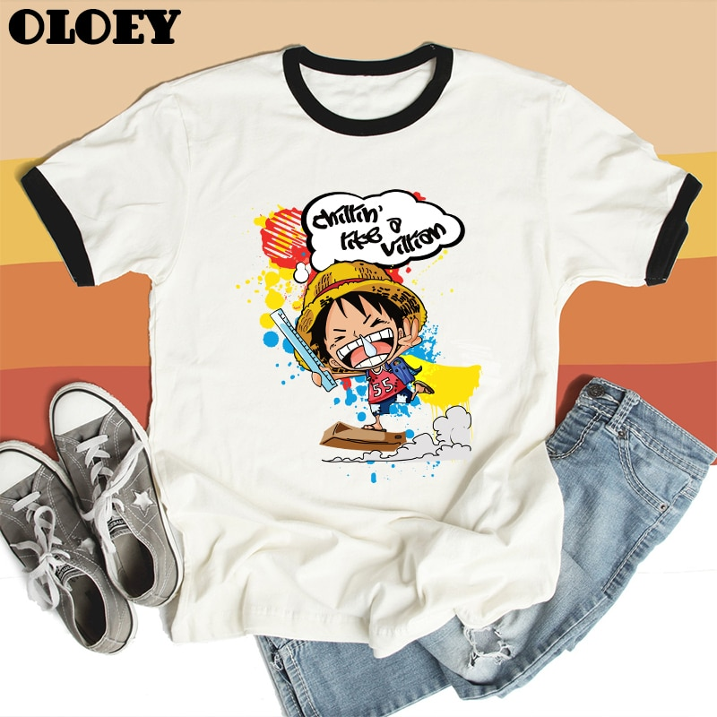 Camiseta Kawaii de una pieza de dibujos animados para mujer Luffy Zoro Tops de Anime de Japón Harajuku moda femenina Camiseta de manga corta ropa de verano
