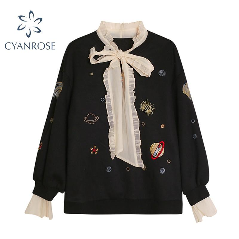 2020 outono feminino moletom retalhos malha laço falso duas peças pulôver topos doce casual camisolas femininas de grandes dimensões