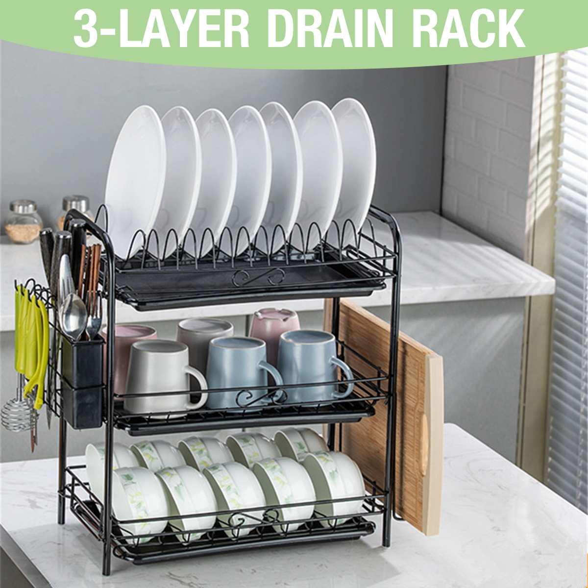 Escurridor de platos de 2/3 capas, cocina, cubertería, platos, estante para platos, fregadero, bandeja de goteo, estante de almacenamiento, organizador de almacenamiento colgante inoxidable