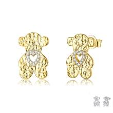 SILVERHOO Copper Stud Earring For Women Cute Animal Small Bear Inlay Cubic Zirconia Earrings Two Col