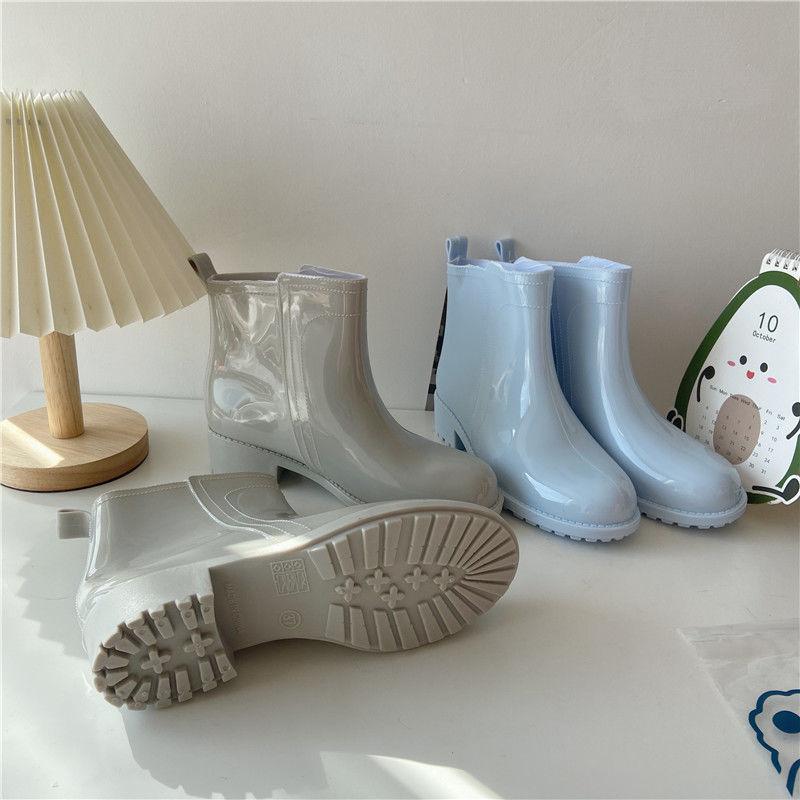 PULOMIES النساء أحذية مارتن احذية المطر السيدات عدم الانزلاق أنبوب قصير موضة لباس خارجي المطاط الدافئة أحذية مضادة للماء حذاء من الجلد
