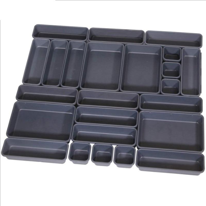 مجموعة من 24 درج مكتب منظم صواني مع 3-حجم صناديق تخزين بلاستيكية سوداء مقسم المكياج المنظم للمكتب