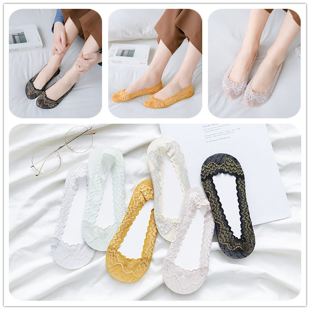 Summer Ladies Lace Thin Boat Socks Silicone Non-Slip Girl Low Ankle Embroidered Breathable Sock Slippers