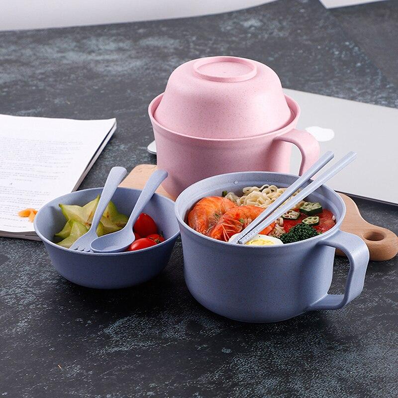 1 unids/set instantánea cuenco con tapa para Fideos de vajilla de paja de trigo de estilo japonés sopa Ramen para microondas conjunto