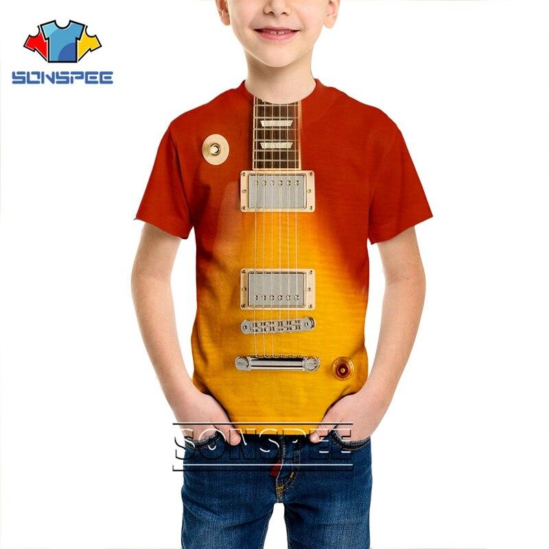 Camiseta con estampado 3D de hombres y mujeres, camiseta de Anime, camisa de guitarra, bajo, música, Harajuku, camisas para niños, camiseta de niños, moda, manga corta