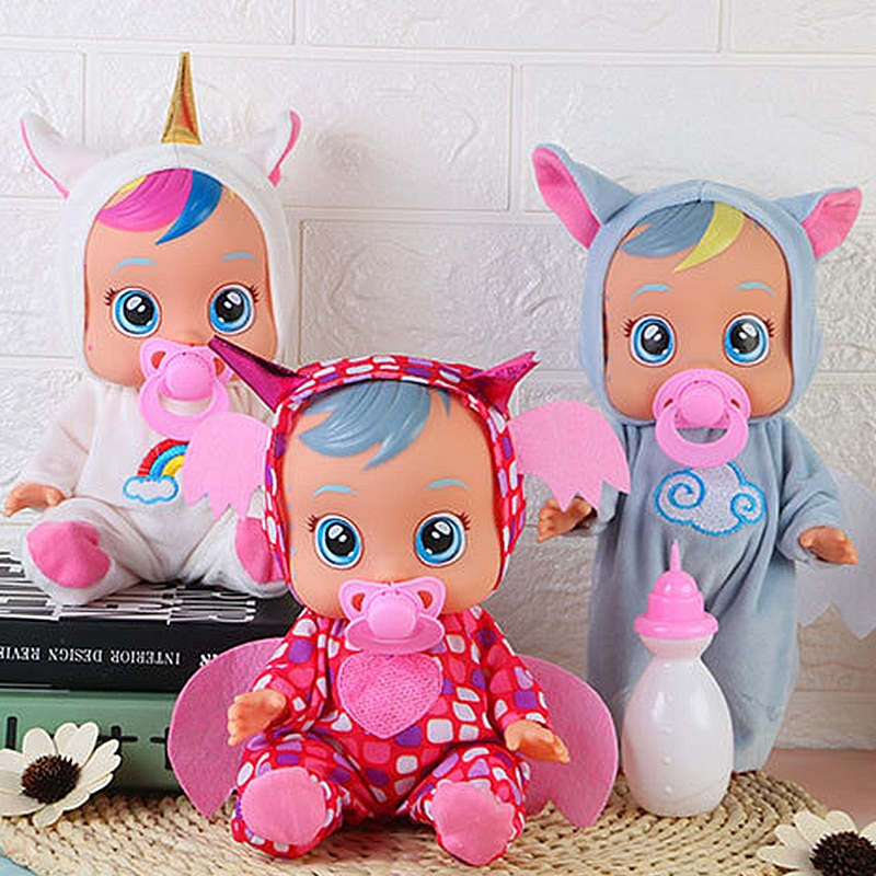 10 Inch Electric Tearing Dolls Animal Unicorn Baby Toy Full Silicone Reborn Baby Doll Drinking Surpr