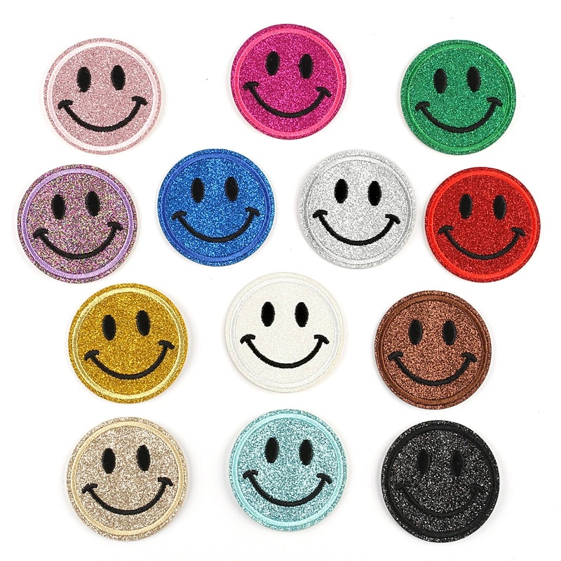 1Pcs Round Expression Smiley Face Patch Clothes Iron on Embroidered Sew Applique Cute Fabric Badge Garment Apparel Accessories