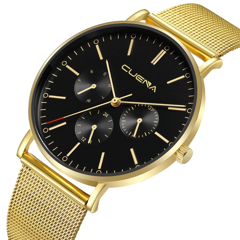 CUENA мужские часы, мужские часы с сеткой, лучший бренд, роскошные часы, мужские наручные часы из нержавеющей стали, наручные часы, мужские часы