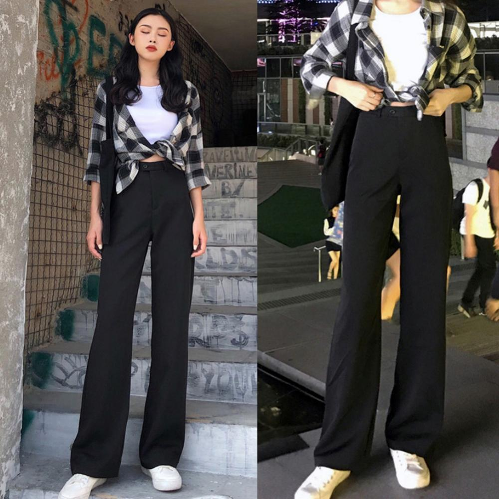 2021 Women Sping Autumn Loose High Waist Solid Color Long Straight Pants Female Korean Fashion Casual Wide Leg Trousers