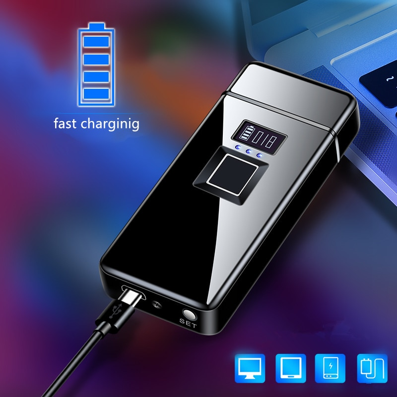 Real  Fingerprint Recognition Electronic   Usb Recharge Sense Touch Electric Arc  Display Power Lighter For Friends Gift enlarge
