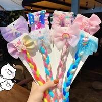 hot sale cartoon bow sequin hair rope color stretch wig braid hair ring girl candy color dream hair accessory headdress