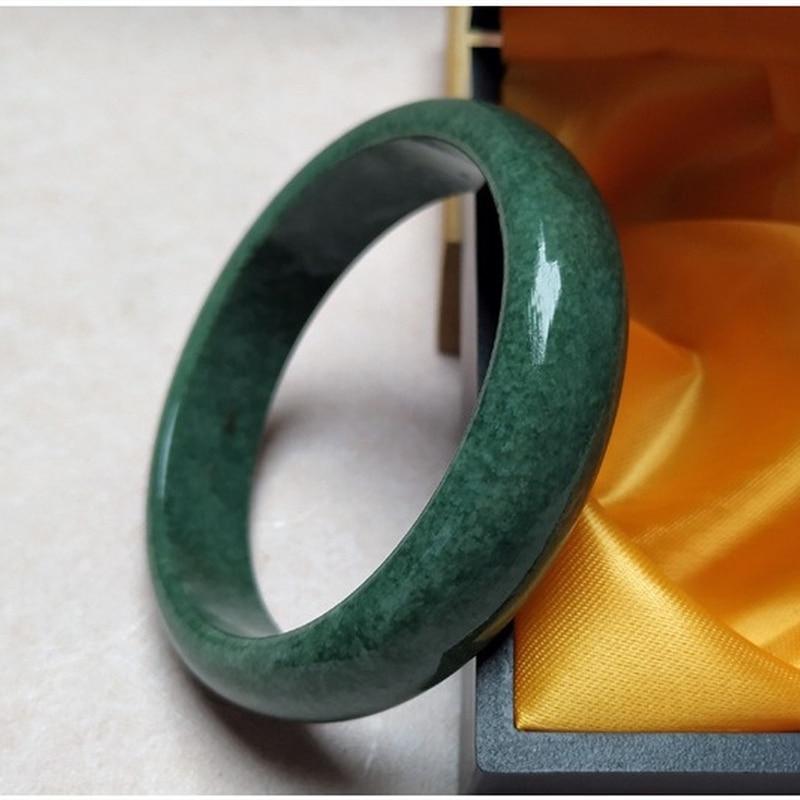 China Natural Dark Green Hand Carved Wide Jade Bracelet Fashion Boutique Jewelry Men's and Women's Guizhou Jade Bracelet Gift