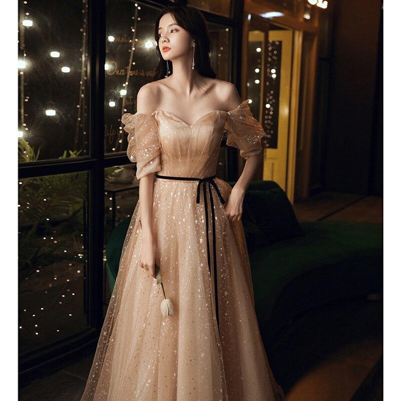 فستان حفلات عيد ميلاد الخريف سيدة مزاجه نموذج طويل المضيف جو كريمة أنيقة مأدبة مساء اللباس A328