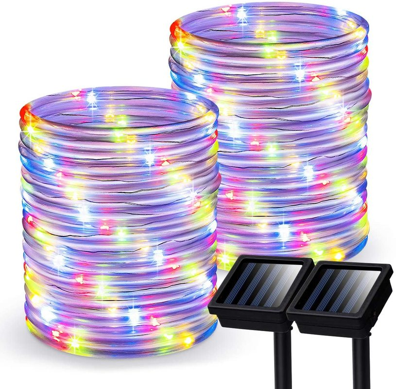 2 Pack Outdoor Solar Powered Rope Lights Waterproof Tube 12m 100 LED Copper Wire Fairy Lights for Garden Fence Patio Yard Decor
