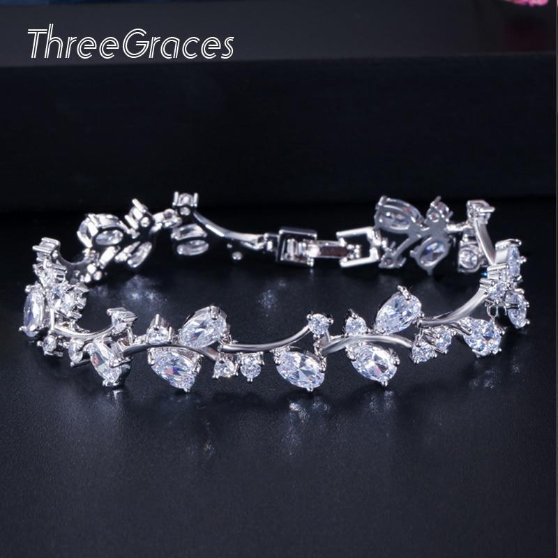 Threegraces romântico 925 folha de prata esterlina e flor topázio branco zircônia cúbica nupcial casamento pulseiras jóias presente br031